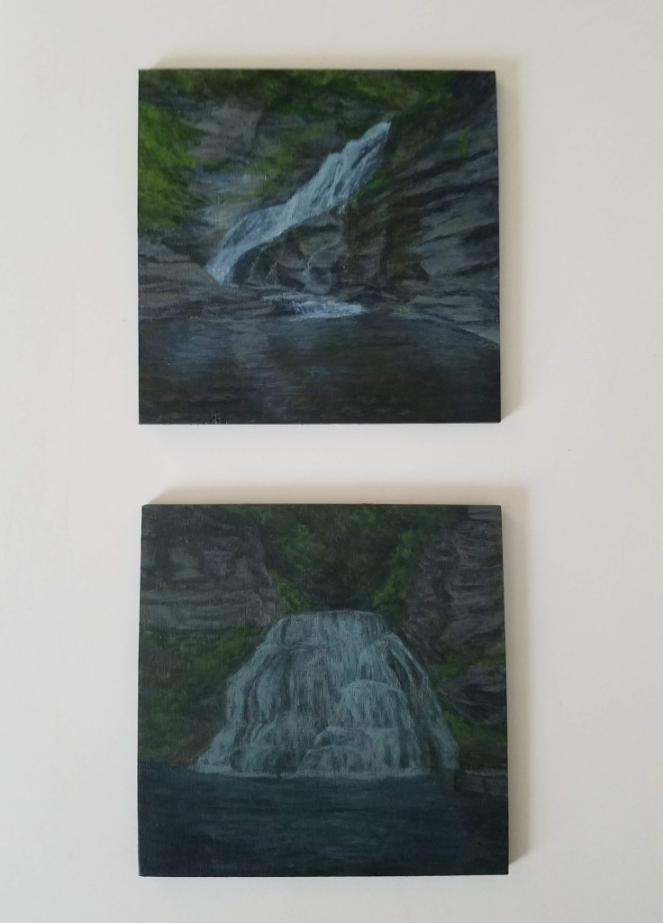 Robert H Treman Waterfall Collection by Laura Jaen Smith. Two acrylic landscape paintings of Lucifer Falls and Enfield Falls Ithaca NY from 50 New York Waterfalls series.