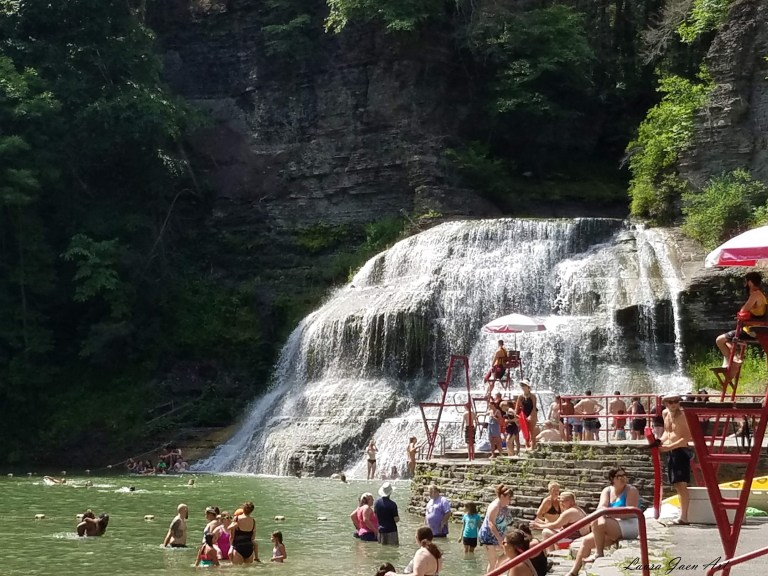 Photo of swim area Robert H Treman State Park in Ithaca NY by Laura Jaen Smith.