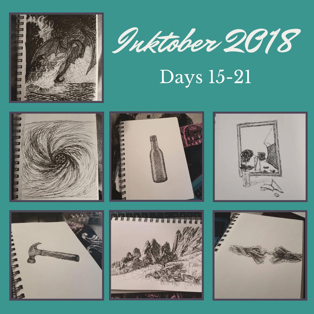 Inktober 2018 Days 15-21 blog cover