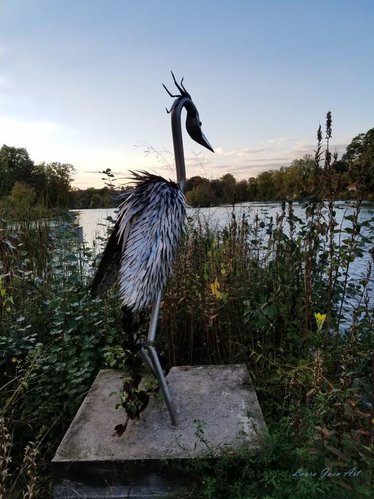 "Photo of ""Hugo the Heron"" by Carol Adamec Ludovico Sculpture Trail Seneca Falls NY by Laura Jaen Smith"