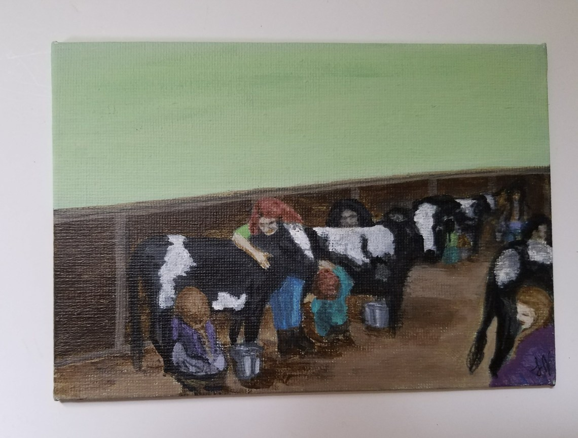 Eight Maids a Milking by Laura Jaen Smith. Acrylic painting from 12 Days of Christmas series.