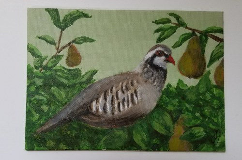 Partridge in a Pear Tree by Laura Jaen Smith. Acrylic painting from 12 Days of Christmas series.
