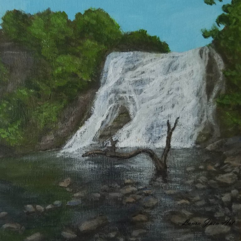Ithaca Falls by Laura Jaen Smith. Acrylic landscape painting of waterfall from Fall Creek Gorge near Cornell from 50 NY Waterfalls series.