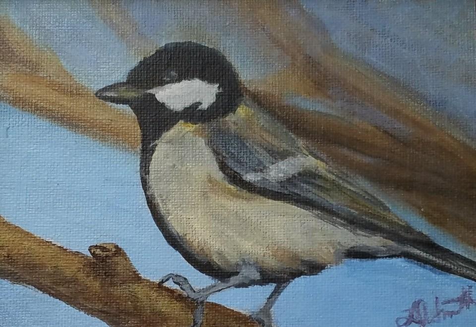 Thinking Spring I by Laura Jaen Smith. Acrylic painting of bird.