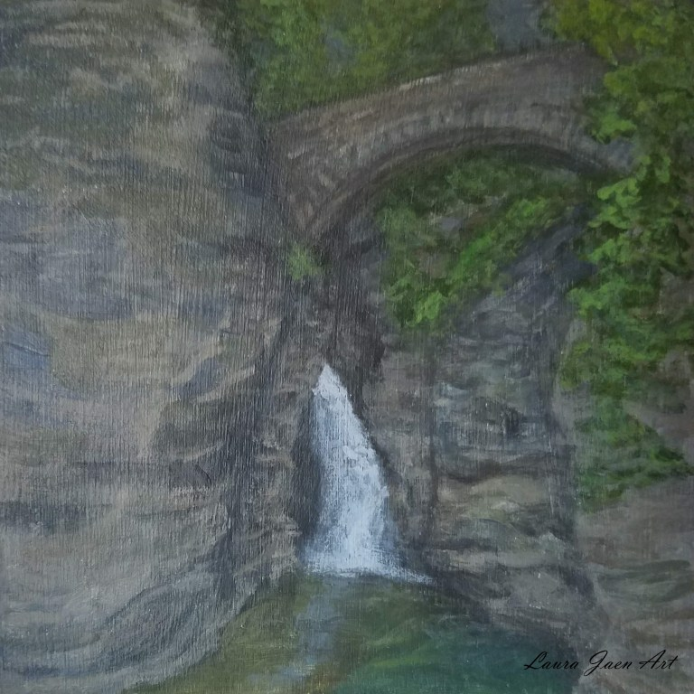 Sentry Cascade by Laura Jaen Smith. Acrylic landscape painting of waterfall Watkins Glen State Park. 50 NY Waterfalls Series.