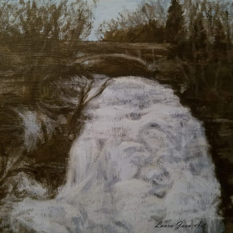 Shequaga Falls by Laura Jaen Smith. Acrylic landscape painting of frozen over waterfall Montour Falls. 50 NY Waterfalls Project.