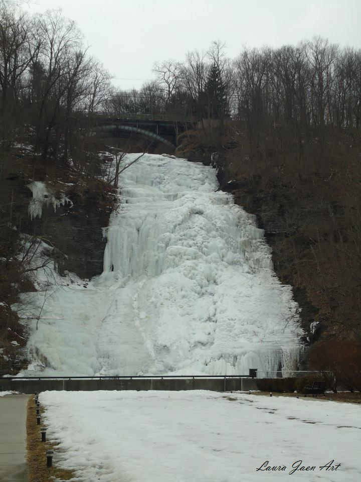Photo of Shequaga Falls frozen over downtown Montour Falls NY by Laura Jaen Smith.