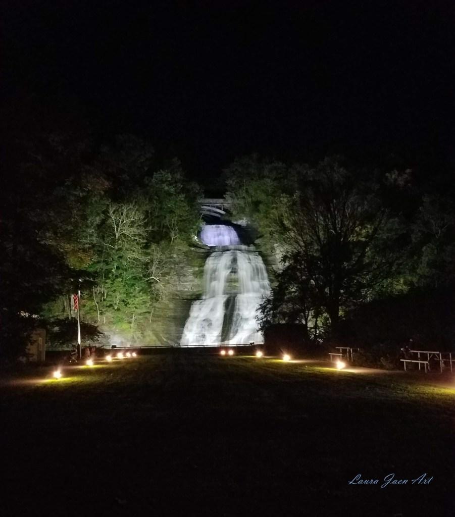 Photo of Shequaga Falls at night downtown Montour Falls NY by Laura Jaen Smith.