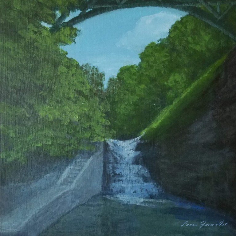 Stewart Falls by Laura Jaen Smith. Square acrylic landscape painting of waterfall from Cascadilla Gorge Trail Ithaca NY. 50 New York Waterfalls Series.