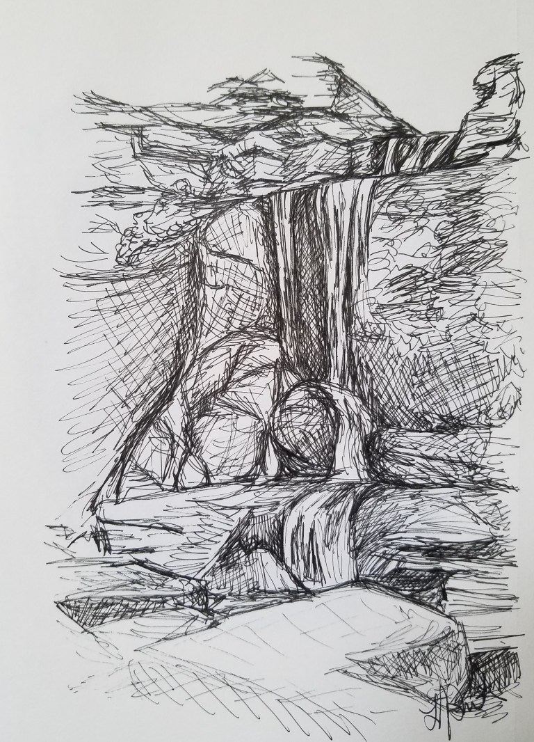 Cowshed Falls by Laura Jaen Smith. Black and white ink drawing of waterfall in Fillmore Glen State Park Moravia NY.
