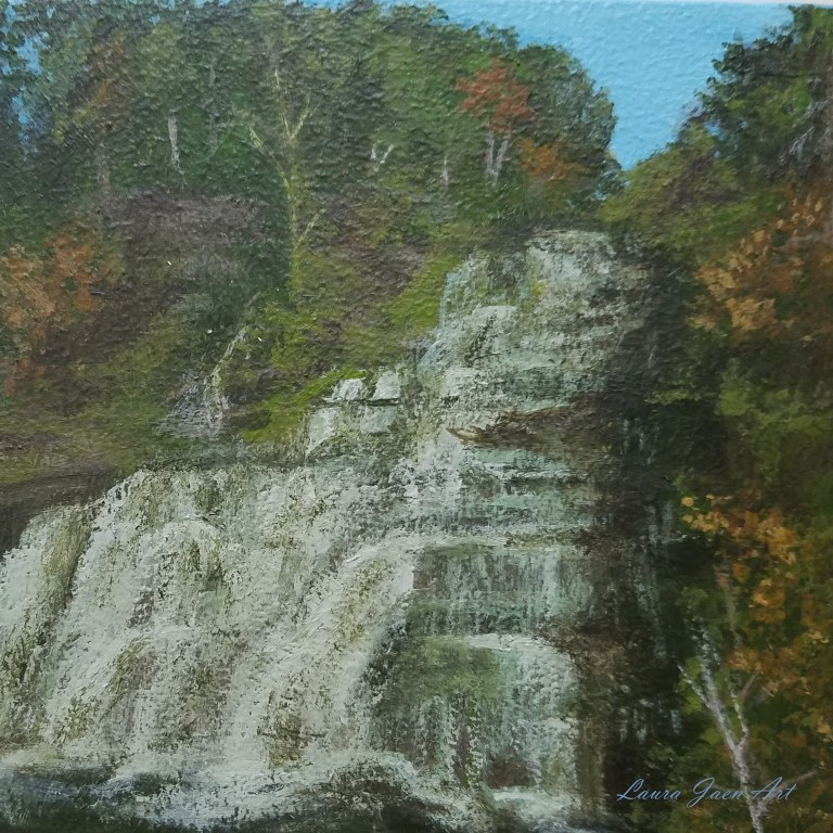 Hector Falls by Laura Jaen Smith. Square acrylic landscape painting of waterfall from 50 New York Waterfalls series.