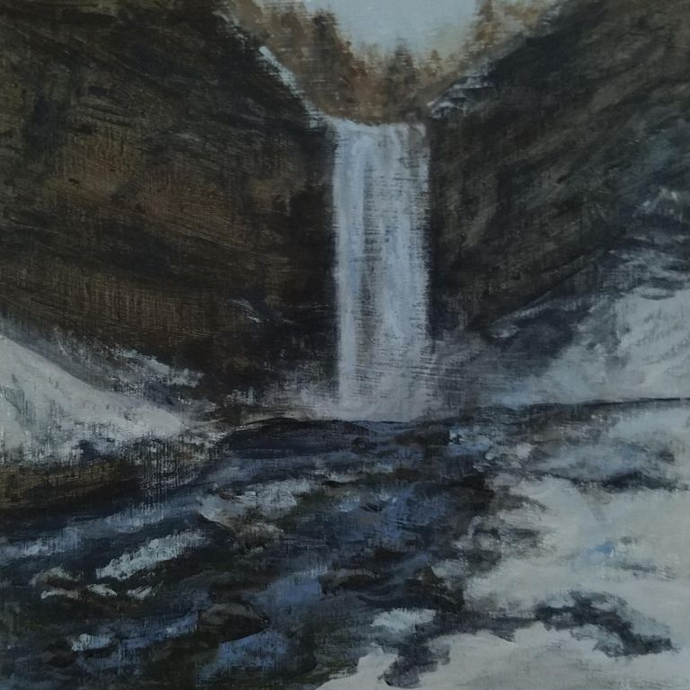 Taughannock Falls by Laura Jaen Smith. Square acrylic landscape painting winter scene from 50 NY Waterfalls series.