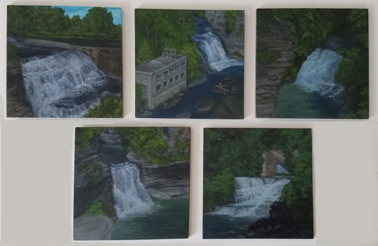 Ithaca Fall Creek Gorge Collection of 5 waterfalls by Laura Jaen Smith
