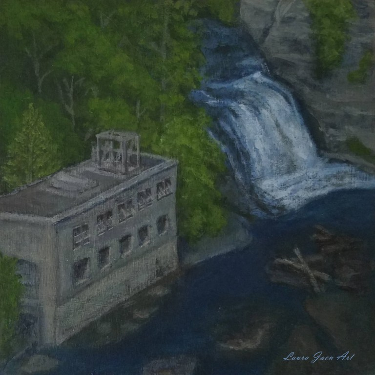 Rocky Falls by Laura Jaen Smith. Square acrylic landscape painting of waterfall and power plant near Cornell College campus from 50 New York Waterfalls project