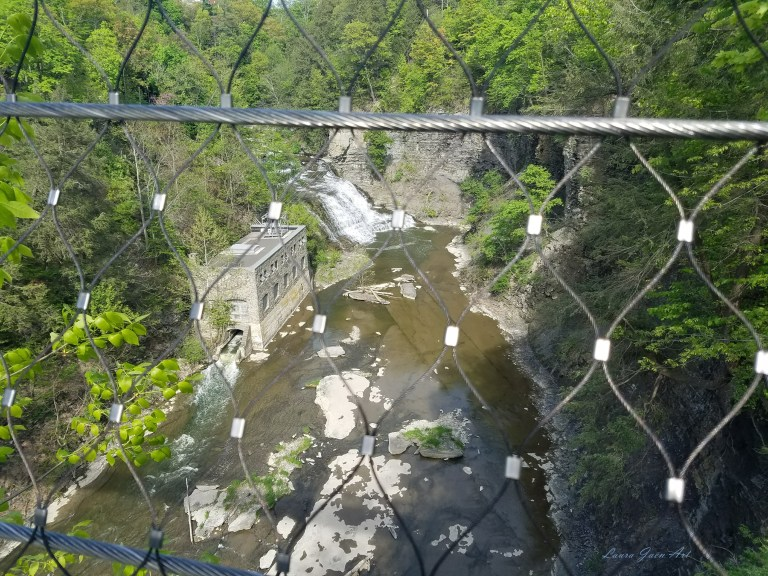 Photo of Rocky Falls from suspension bridge Fall Creek Gorge Ithaca NY by Laura Jaen Smith
