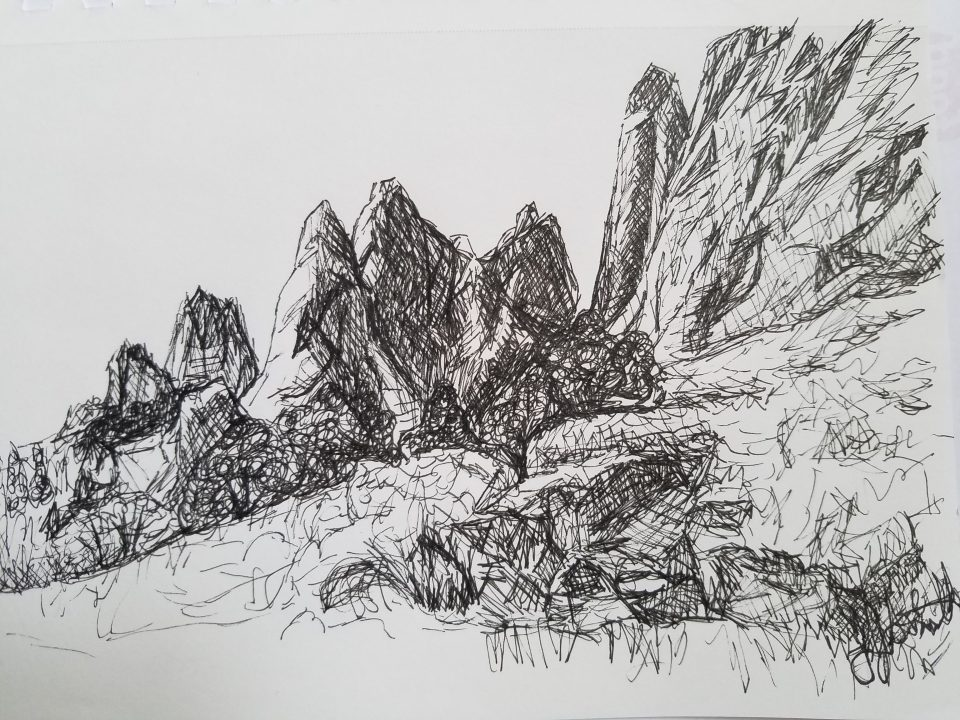 Garden of the Gods by Laura Jaen Smith. Black and white ink drawing from Colorado,