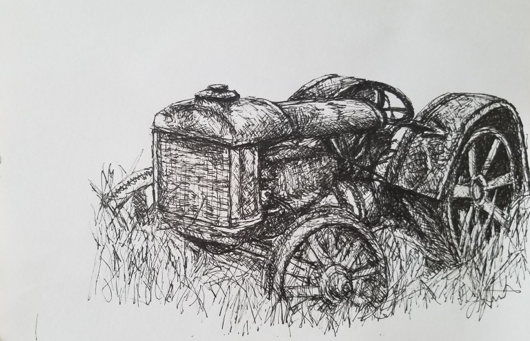 Old Tractor by Laura Jaen Smith. Black and white ink drawing of antique farm tractor
