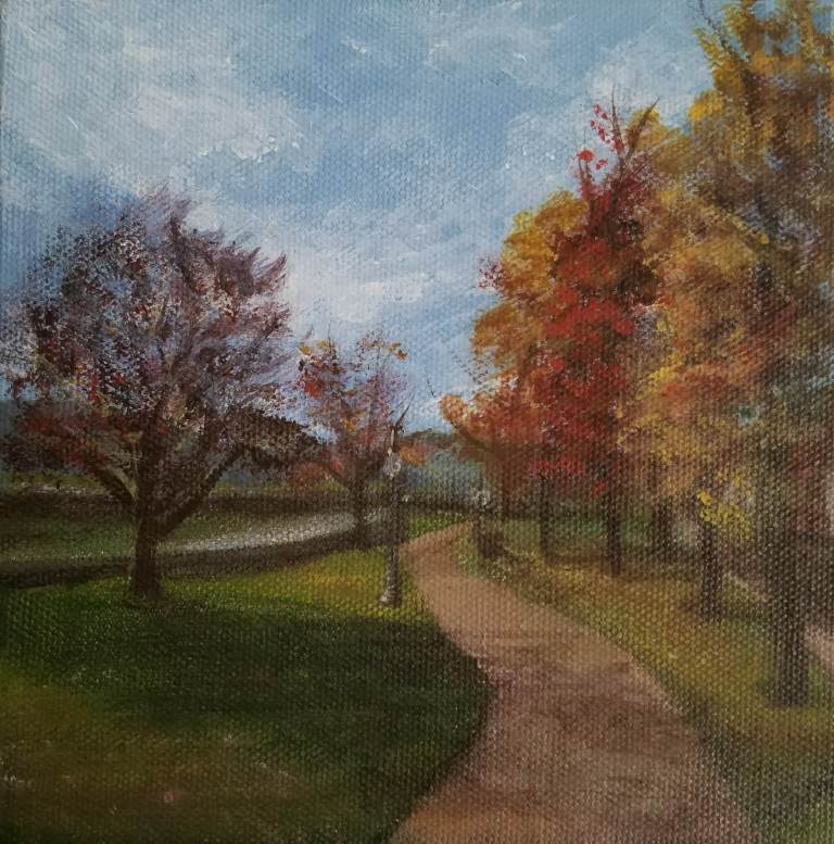Riverfront Park in Autumn by Laura Jaen Smith. Square acrylic landscape painting of Mark Twain Riverfront Park in Elmira. Path along the Chemung River with colorful fall trees.