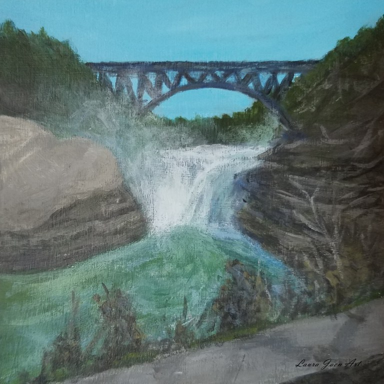 Letchworth State Park Upper Falls by Laura Jaen Smith. Square acrylic landscape painting of waterfall.