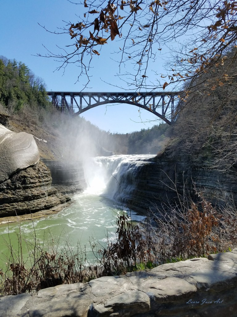 Photo of Letchworth State Park Upper Falls by Laura Jaen Smith.