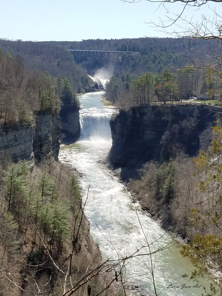 Photo of Letchworth State Park by Laura Jaen Smith. View of Middle Falls and Upper Falls in distance.