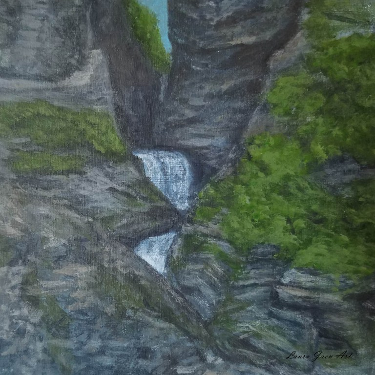 Minnehaha Falls by Laura Jaen Smith. Square acrylic landscape painting of waterfall in Watkins Glen State Park from 50 NY Waterfalls series.