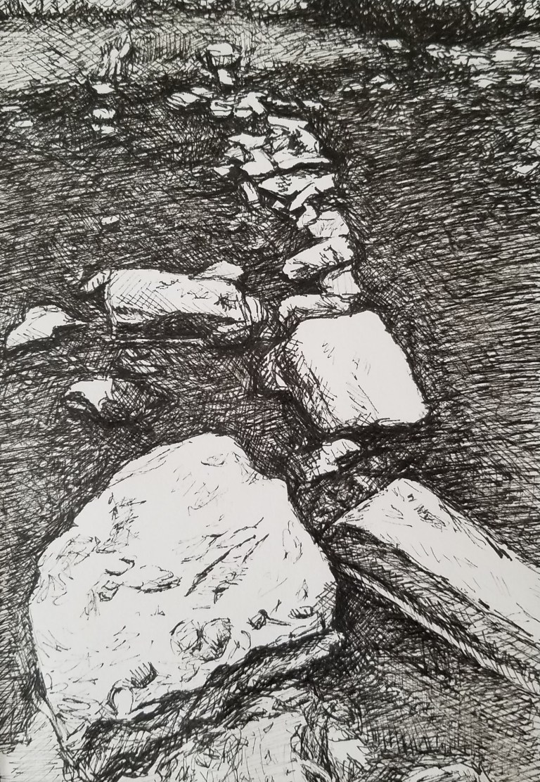 Stepping Stones by Laura Jaen Smith. Bllack and White Ink drawing of river rocks in creek.