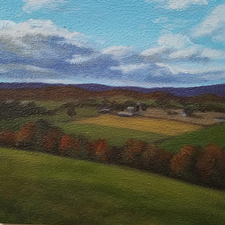 Overlooking the Farm by Laura Jaen Smith. Square acrylic landscape painting of farm in the distance with blue sky and changing leaves throughout