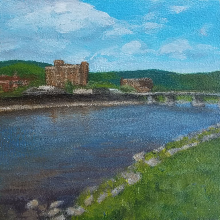 Sunny Day Skyline by Laura Jaen Smith. Square acrylic landscape painting of downtown Elmira NY looking across Chemung River.