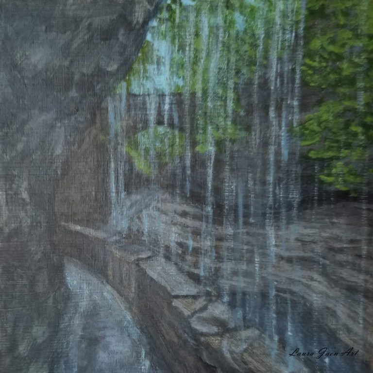 Rainbow Falls by Laura Jaen Smith. Square acrylic landscape painting looking through water of Rainbow Falls towards Triple Cascade in Watkins Glen State Park NY