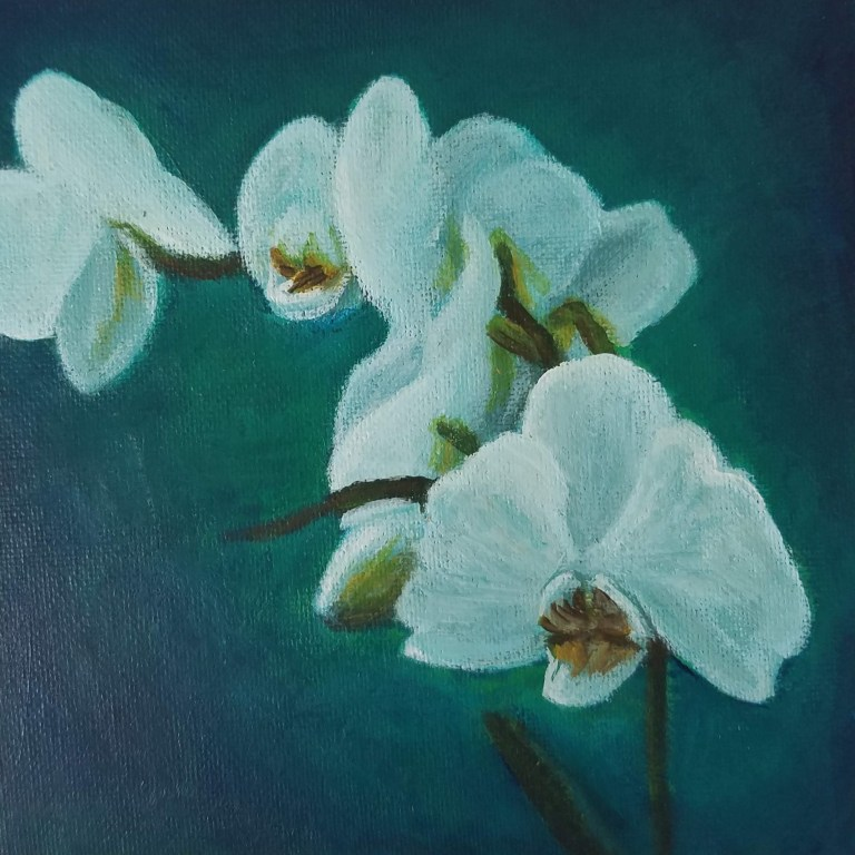 Orchid with Teal by Laura Jaen Smith. Acrylic painting of white orchids against dark teal background.