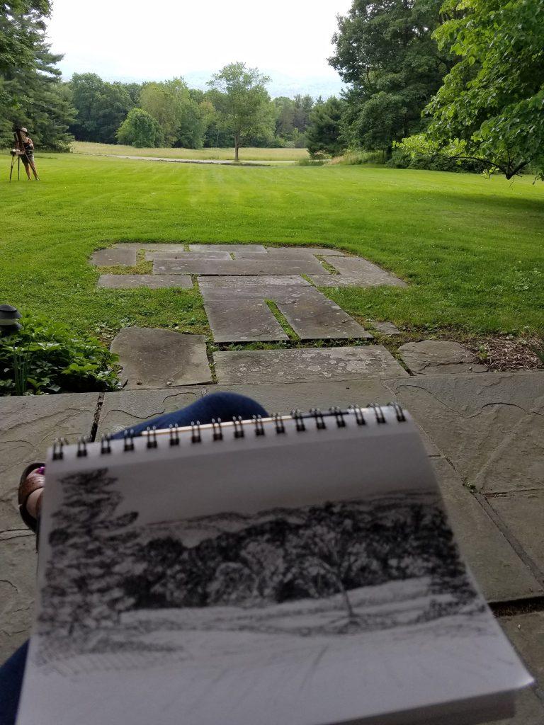 Photo of plein air ink drawing at Quarry Farm Elmira NY