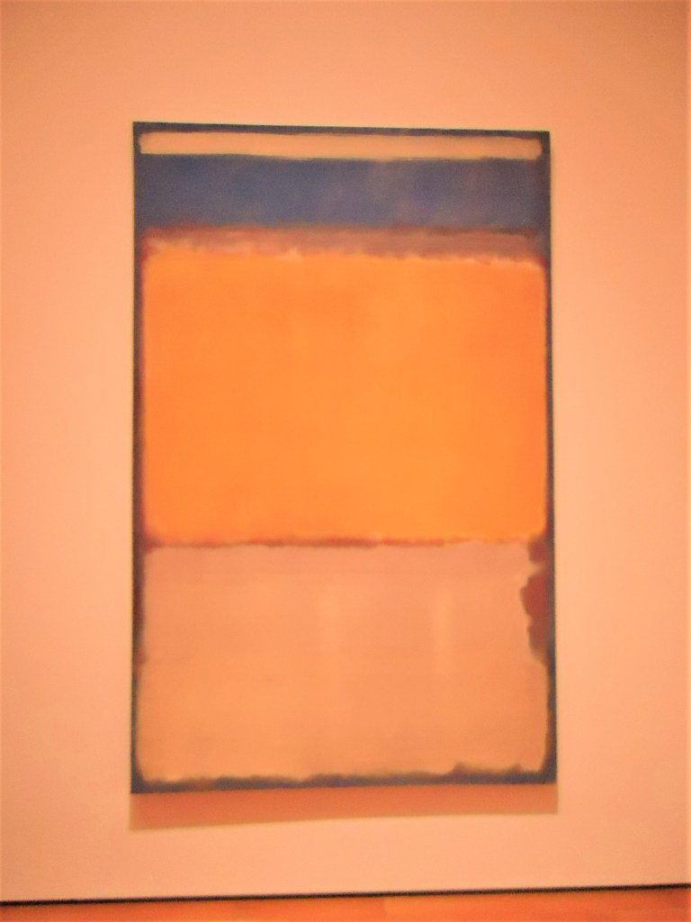 Mark Rothko painting Number 10. Color block painting of white, yellow and blue