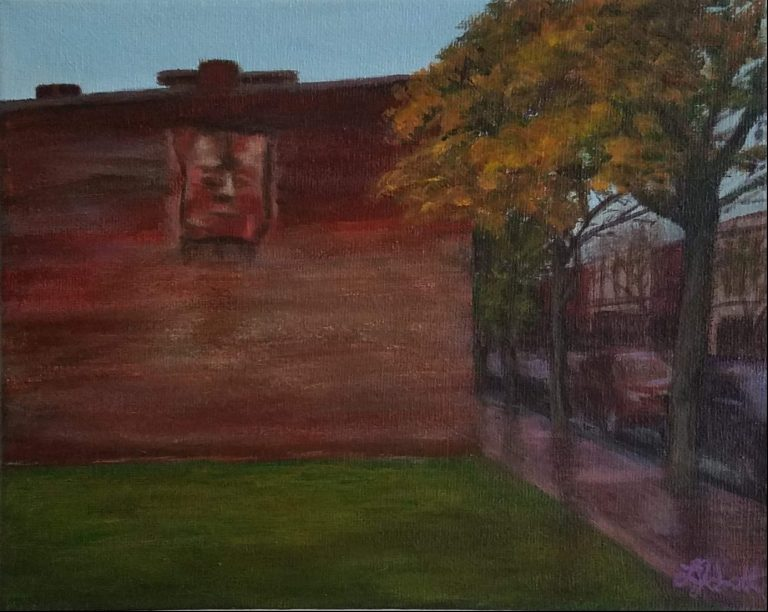 """Autumn Critic by Laura Jaen Smith. Acrylic painting of Market Street Corning looking towards side of building with face sculpture """"The Critic"""" by Tom Gardner."""