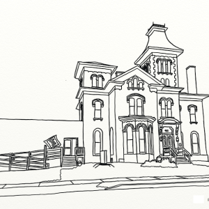 Community Arts of Elmira outline coloring page by Laura Jaen Smith