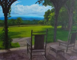 Relaxing on the Porch by Laura Jaen Smith. Painting from porch at Quarry Farm looking out at the vista of Elmira New York.