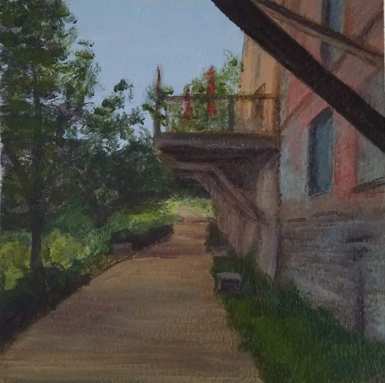 Along the Riverwalk by Laura Jaen Smith. Acrylic landscape painting of Owego Riverwalk trail with historic buildings on right.