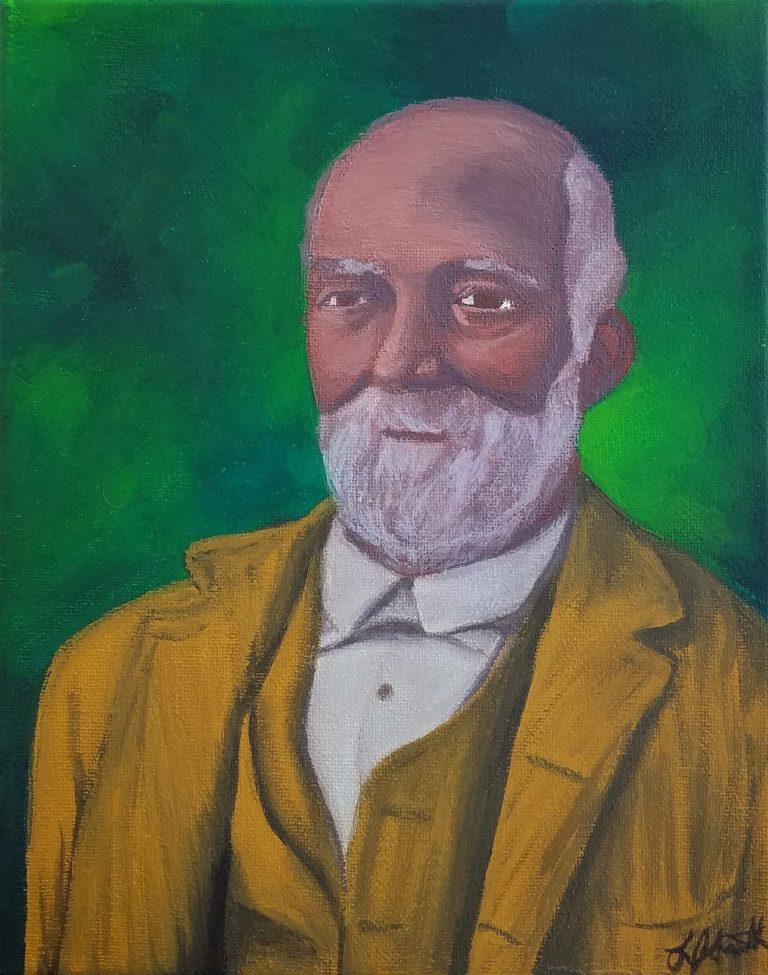 John W Jones gouache portrait painting by Laura Jaen Smith. Historic person of Elmira NY from Underground Railroad