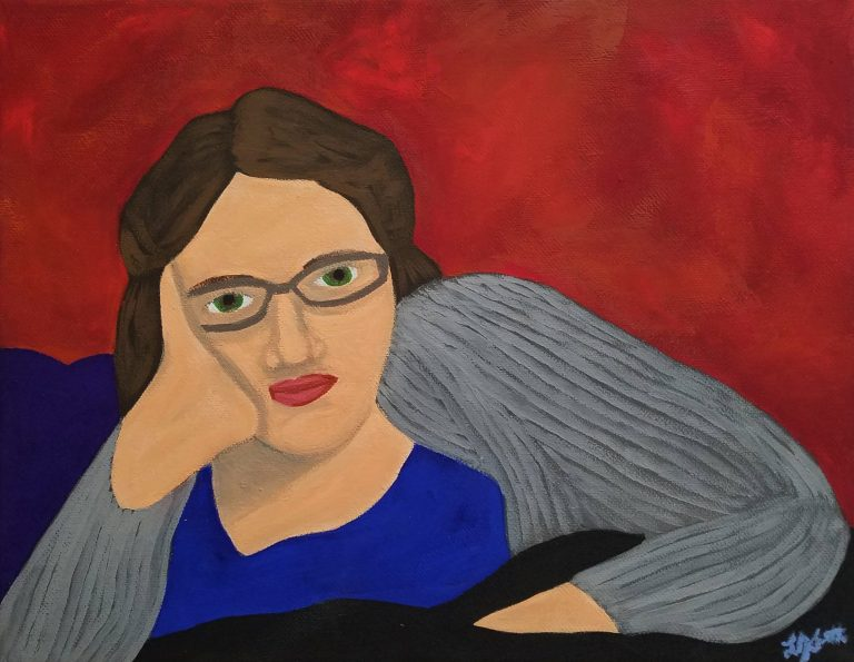 Corona Self-Portrait: Reclining by Laura Jaen Smith. Gouache self portrait of reclining woman covered in blanket with sweater cardigan blankly staring at viewer. Red background.