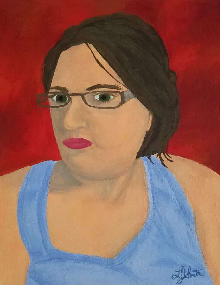Corona Self-Portrait: Summer by Laura Jaen Smith. Gouache self portrait of woman in light blue tanktop staring into space with red background