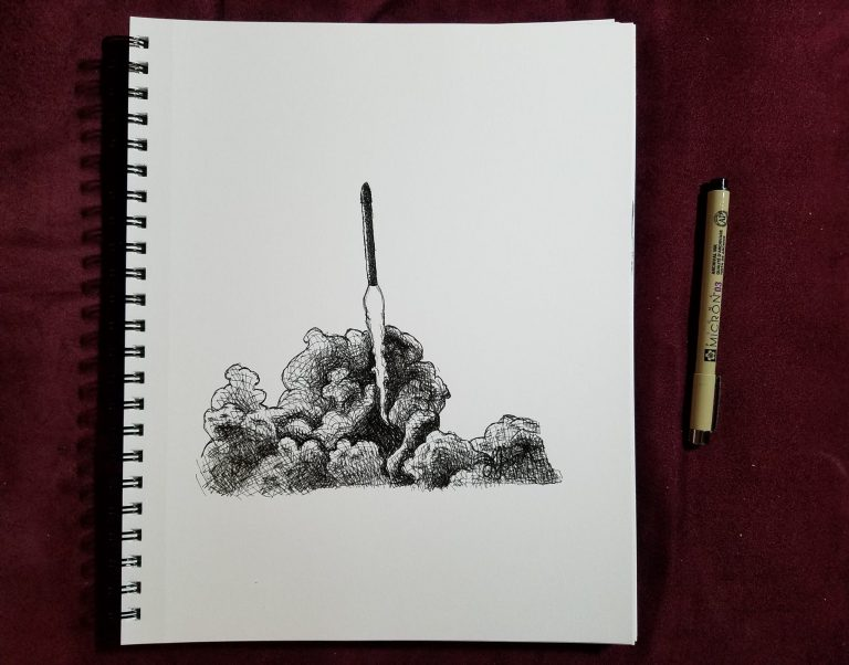 Sketchbook view with pen of Rocket Launch by Laura Jaen Smith. Black and white ink drawing of rocket taking off from a cloud of smoke
