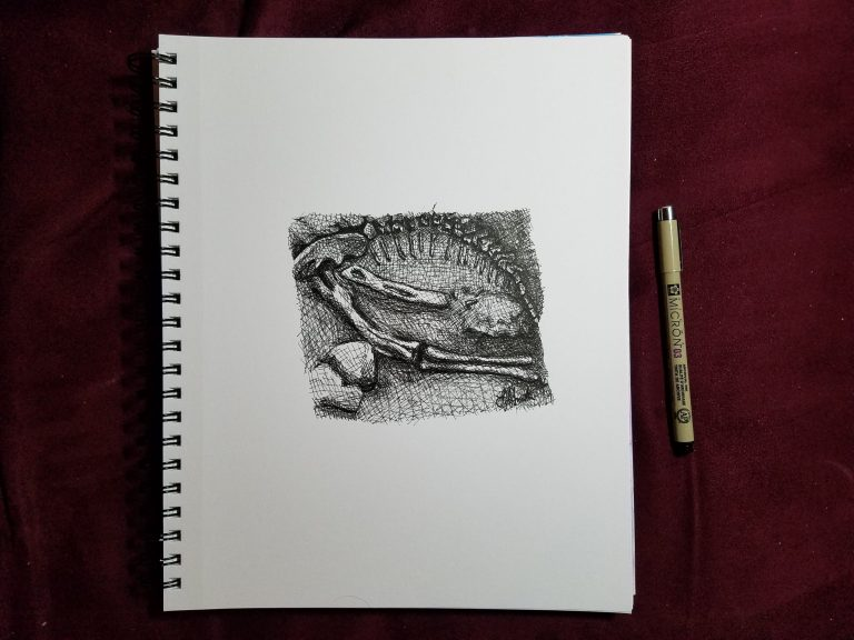Sketchbook view with pen of Bones by Laura Jaen Smith. Black and white ink drawing of paleontologist dinosaur dig.