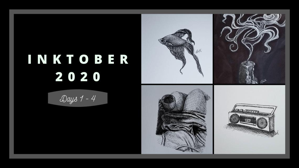 Inktober 2020 days 1-4 blog cover