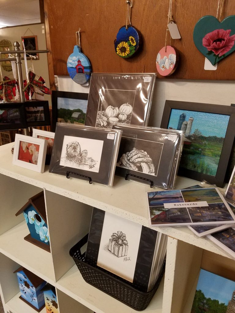 View of items from Laura Jaen Art booth at Oldies But Goodies Big Flats NY
