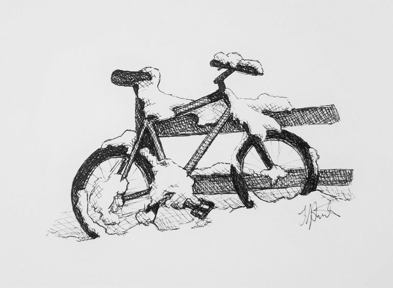 Snowy Bicycle by Laura Jaen Smith. Ink drawing of bicycle leaning against fence covered in snow