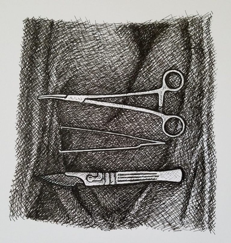 Surgeon's Tools by Laura Jaen Smith. Ink drawing of surgical instruments laid out on clother.
