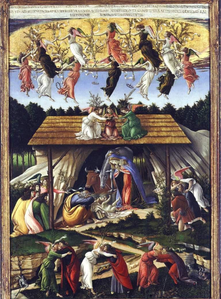 Mystic Nativity by Botticelli. Italian Renaissance painting of nativity scene