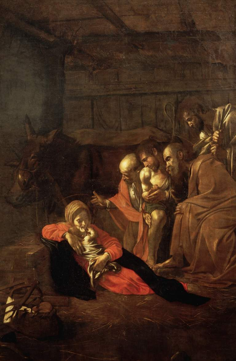 Adoration of Sheppards by Caravaggio. Painting of nativity scene.