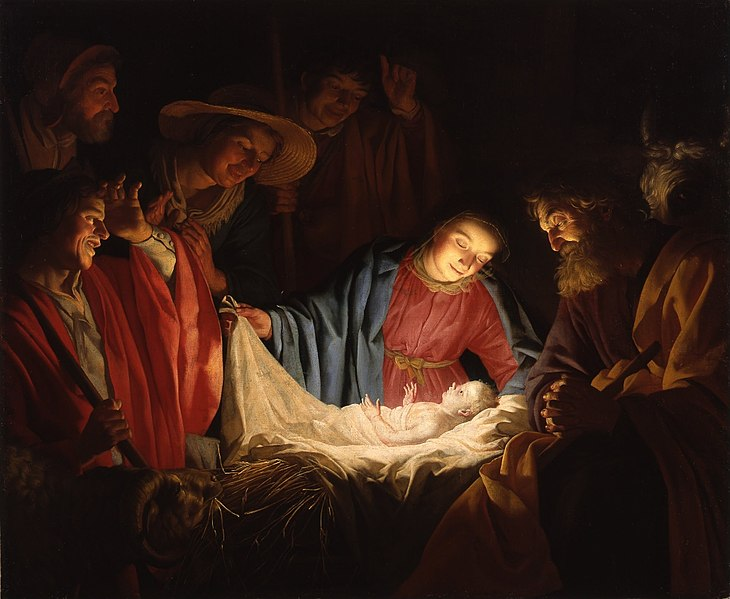 The Adoration of the Shepherds by Gerrit van Honthorst. 1622 oil painting of nativity scene