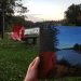 River of Process painting in front of reference sculpture in Ludovico Sculpture Garden Seneca Falls NY